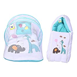 Toddylon Baby Net Bedding & Sleeping Bag Gift Combo (0-6 Months Blue)