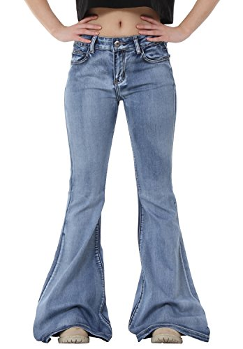 Glamour Outfitters 60s 70s Light Wash Flares Faded Bell-Bottom Flared Jeans - Blue (US10 / UK12)