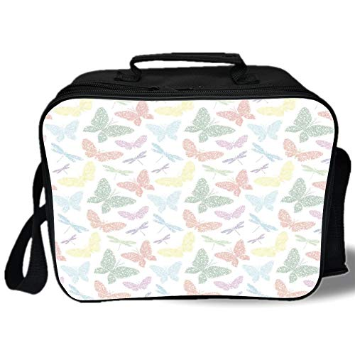 Insulated Lunch Bag,Dragonfly,Colorful Different Sized Speckled Butterfly and Dragonfly Figures Wings Image,Multicolor,for Work/School/Picnic, Grey ()