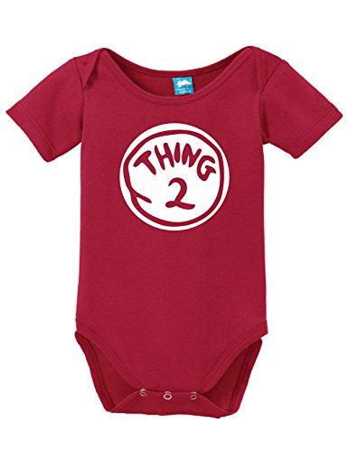 Thing Two Printed Infant Bodysuit Baby Romper Red 3-6 - Person 2 Onesie