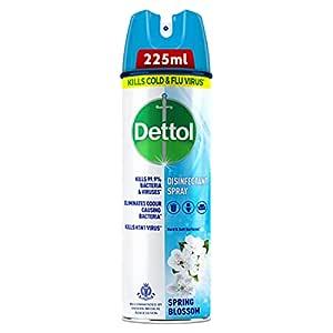 Dettol Disinfectant Sanitizer Spray Bottle   Kills 99.9% Germs & Viruses   Germ Kill on Hard and Soft Surfaces (Spring Blossom, 225ml)