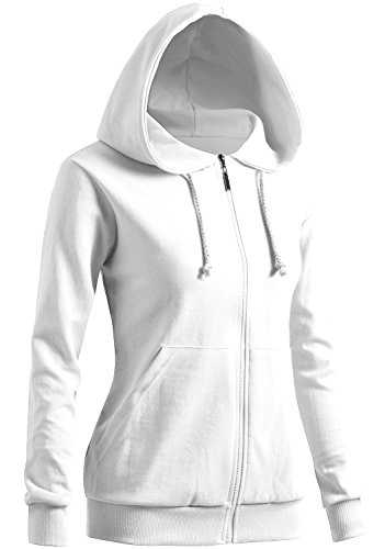 Hooded Fleece Sweatshirt Jacket - CLOVERY Women's Casual Basic Long Sleeve Zipup Hoodie White US XL + / Tag XXL