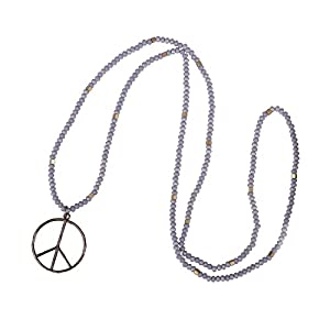 KELITCH Classic Peace Sign Love Hippie Pendant on Frosted Crystal Beaded Necklace