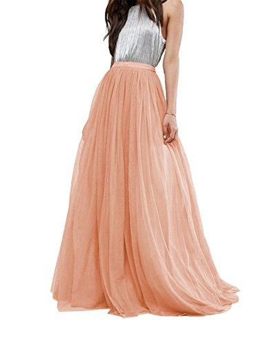 Women Wedding Long Tulle Skirt Dress Bridal Bridesmaids Floor Length High Waisted Maxi Tutu Party Dress (Orange Pink, Plus ()