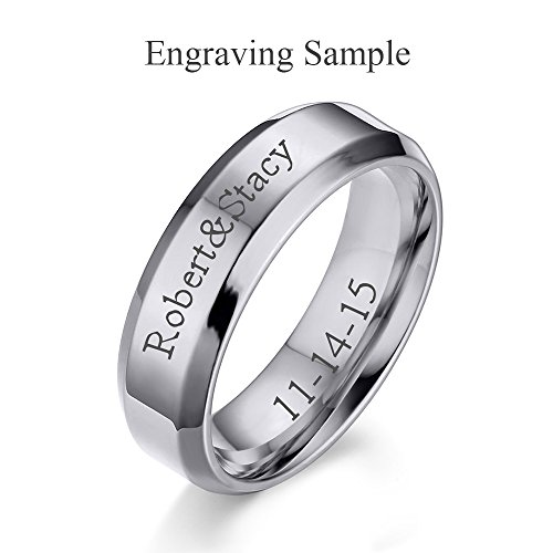 (Free Engraving) 6MM Stainless Steel Personalized Plain Band Ring for Men and Women,Silver,Size 9