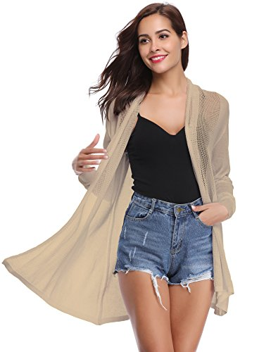 Abollria Long Open Front Lightweight Breathable Cardigans Sweaters(Khaki,XL) (Open Knit Sweater)