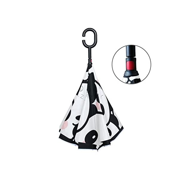 6f35f8842753 Jeansame Reverse Inverted Umbrellas Double Layer Windproof Umbrella with C  shaped Handle for Car Use Men Women Cute Black White Pandas Animals