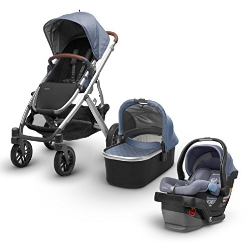 2018 UPPABaby VISTA Stroller - Henry (Blue Marl/Silver/Saddle Leather) + MESA- Henry (Blue Marl) merino wool version