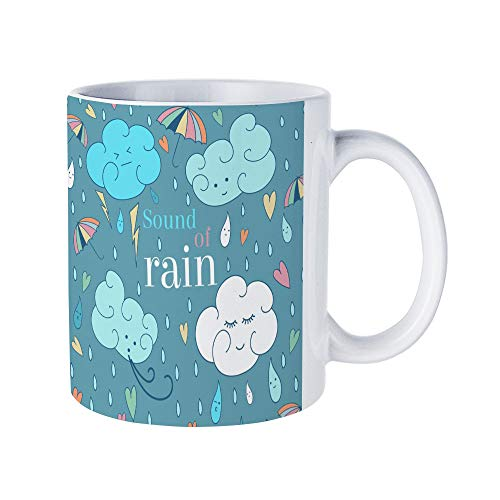 (DKISEE Abstract Seamless Rain Theme Card Cute Greeting Card And Sample Text Coffee Mug Novelty 11oz White Ceramic Mug Birthday Christmas Anniversary Gag Gifts Idea)