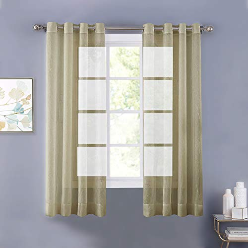 NICETOWN Crinkled Voile Sheer for Nursery Room - Crushed Sheer Window Curtain Voile Panels with Grommet for Doors (2 Pieces, 52 Wide x 63-inch Length,Sage)