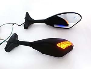 New Matt Black LED Turn Signals Integrated Mirror for Honda CBR 600 1000 RR Hurricane ,Yamaha YZF R1 R6 R6S Fazer FZR 600,Suzuki GSXR 600 750 1000 Bandit Kawasaki Ninja 500 ZX6 ZX6R Ex And more