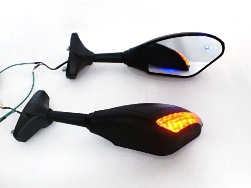 New Matt Black LED Turn Signals Integrated Mirror for Honda CBR 600 1000 RR Hurricane ,Yamaha YZF R1 R6 R6S Fazer FZR 600,Suzuki GSXR 600 750 1000 Bandit Kawasaki Ninja - Signals Mirror Turn Led