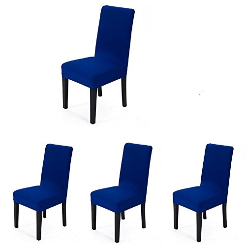 (iEventStar 4 pieces Spandex Stretch Washable Dining Room Chair Cover Protector Seat Slipcovers (Royal Blue, 4))