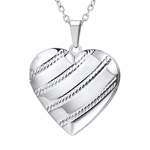 (U7 Memorial Photo Locket Necklace Romantic Women Platinum Plated Stripe Heart Pendant for Her)