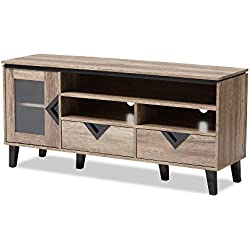 "Baxton Studio 424-7560-AMZ Cecille Modern and Contemporary Wood 55"" TV Stand, Light Brown"