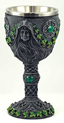 Medieval Renaissance 12 oz Wine Goblet Chalice Cup (Maiden/Mother/Crone - Green)