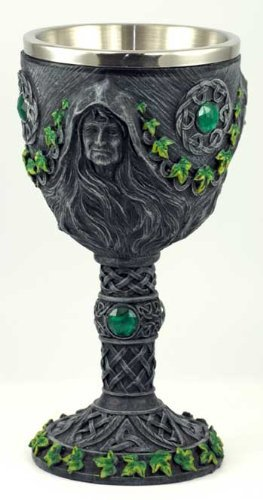 Medieval Renaissance 12 oz Wine Goblet Chalice Cup (Maiden/Mother/Crone - Green) ()