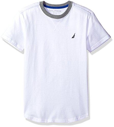Nautica Little Boys' Short Sleeve Ringer Tail Tee Shirt, White, Large (7) - Tail Ringer