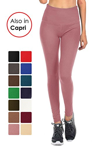 VIV Collection Signature Leggings Yoga Waistband Soft and Strong Tension w/Hidden Pocket (L, Indian Pink) (Collection Pink)