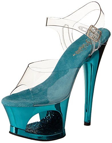 Pleaser Women's Moon-708DMCH/C/TE Platform Sandal - Clear...