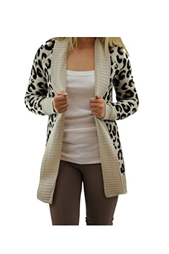 Fast Fashion Chaqueta de punto para mujer, diseño con estampado azteca, de leopardo y corazones Leopard Stone