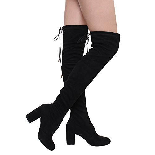 ShoBeautiful Women's Thigh High Boots Stretchy Drawstring Over The Knee Chunky Block Stiletto Heel Boots Black (Long Suede Boots)