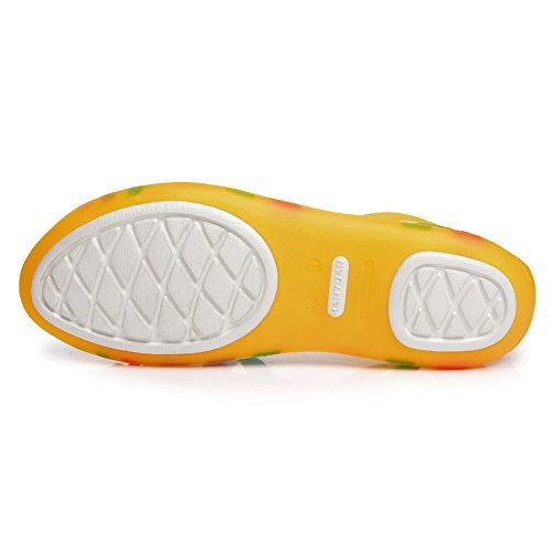 Donne Enllerviid Sandali In Gelatina Piatta Strappy Multicolor Open Toe Slip On Garden Shoes Yellow