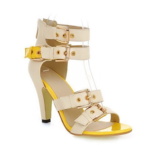 VogueZone009 Womens Open Toe High Heel Chunky Heels Soft Material Solid Sandals with Zipper, Yellow, 4.5 UK