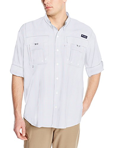 Columbia Mens Super Bahama Long Sleeve Shirt, Sail Mini Check, Medium