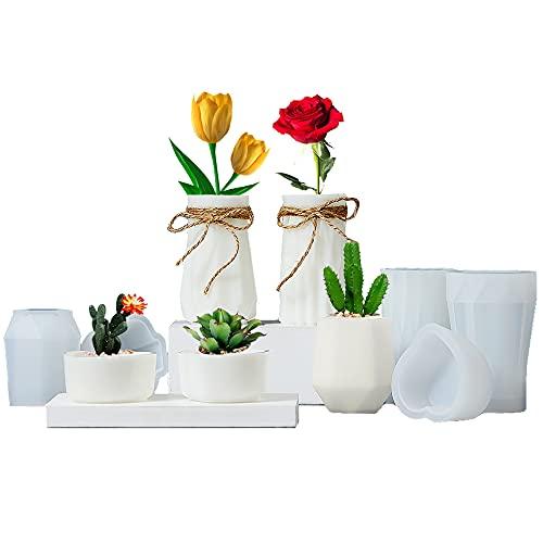 5 Moldes de resina (floreros, jarrones y maceteros)