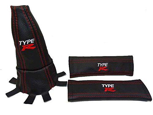 Sicherheitsgurt-Überzug und Schaltsack für Honda Civic Typ R FN2 06-12, Leder, schwarz mit rot-weißer Typ-R-Edition-Stickerei