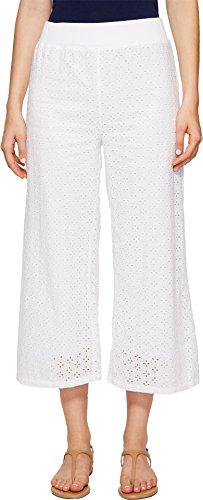 Mod-o-doc Women's Cotton Eyelet Wide Leg Crop Pants White (Eyelet Crop Pants)