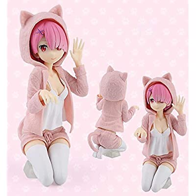 YOUZHILAN Re Zero Starting Life in Another World: Rem and Ram Figure Cat Posture (Pink): Toys & Games