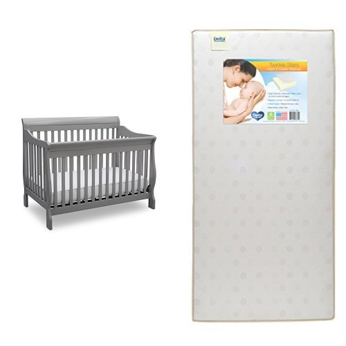 Delta Children Canton 4-in-1 Convertible Crib, Grey with Twinkle Stars Crib & Toddler Mattress