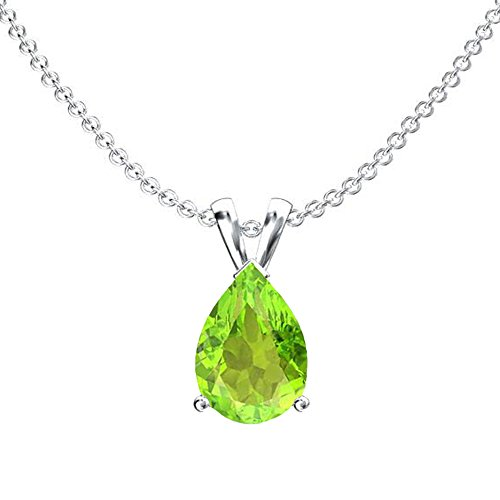 (Dazzlingrock Collection 10K 9x7 mm Pear Cut Peridot Ladies Solitaire Pendant (Silver Chain Included), White Gold)