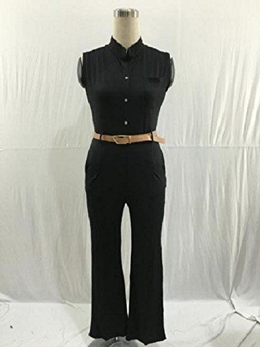 Culater Las mujeres Soild el sistema del partido de Bodycon Clubwear del mono de los pantalones con la correa Negro