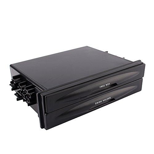 (Universal Car Auto Double Din Radio Pocket Cd Radio Pocket Drink Cup Holder Storage Box, Black)