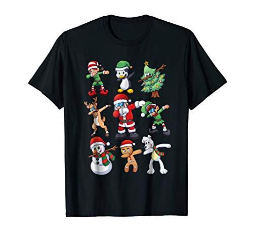 Christmas Shirt for Kids Boys Dabbing Santa Elves Xmas Gift
