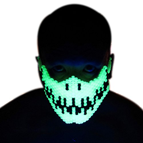 [Glow In The Dark Skeleton Full Kandi Mask Jack Skellington by Kandi Gear] (Dance Costumes In New Orleans)