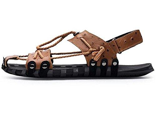 Zapatos 38 Diapositivas de brown Tamaño hombre Toe 45 Cordón cuero Beach a de Respirable genuino antideslizantes Sandalias Velcro Summer wfFrwAq