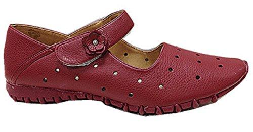 Femmes chaussures babies ballerine mocassines cuir simili 2009-2 ROUGE