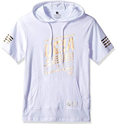 (Southpole Men's Short Sleeve Hooded Fashion Tee, White foil Stripe Hoody, Large)