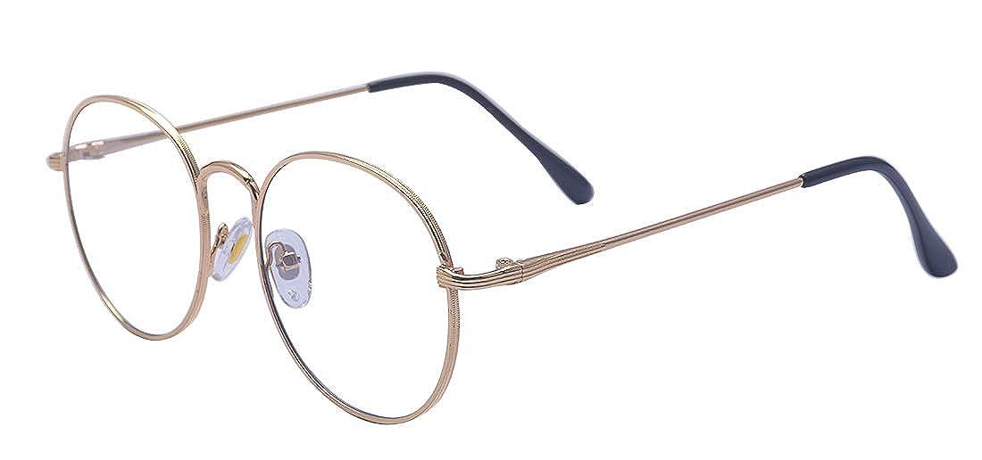ALWAYSUV Round Rim Metal Non-Prescription Glasses Clear Lens Eyewear Optical Frame For Wome/Men A2362-1
