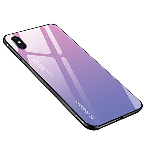 (Case Compatible with iPhone Xs Max,Luhuanx Tempered Glass Gradient Color Pattern+TPU Frame Hybrid Slim case for iPhone Xs Max(2019) Anti-Scratch Anti-Drop)