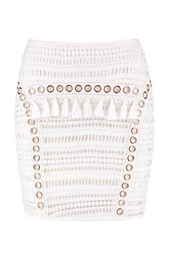Eyelet Mini Skirt (Boohoo Womens Harper Woven Crochet Tassle Eyelet Mini Skirt In Ivory Size 6)