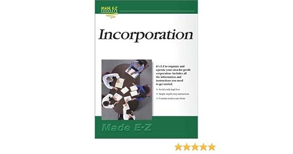 Incorporation kit do it yourself made e z products incorporation kit do it yourself made e z products 0053926053018 amazon books solutioingenieria Gallery
