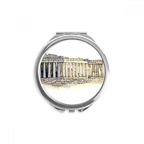 Acropolis of Athens of Greece Mirror Round Portable Hand Pocket Makeup