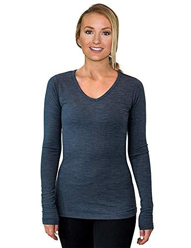 WoolX Women's Layla V Neck Long Sleeve Lightweight Breathable Merino Wool Shirt, Denim Heather, ()