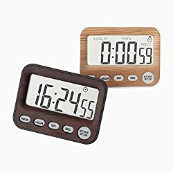 Jamal Digital Kitchen Timer for Kids Countdown Cooking Timers Multifunction Large LCD Display Second Minute Hour Loud Alarm Clock Magnetic Backing Stand for Office(2 pack)