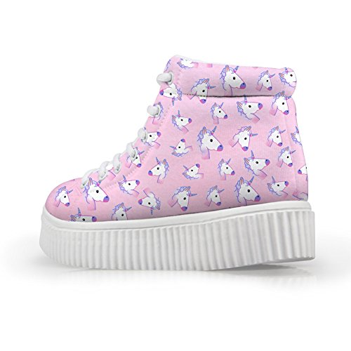 HUGS IDEA Fashion Floral Women Platform Sneakers High Top Shoes Pink AsjYfBy